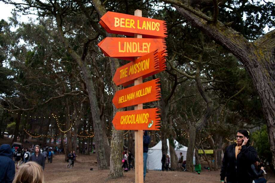 Signs directed festival goers to different offering such a Chocolands, The Mission, and Beer Lands at the 2012 Outside Lands Music Festival in Golden Gate Park in San Francisco, Calif., Saturday, August 11, 2012. Photo: Special To The Chronicle