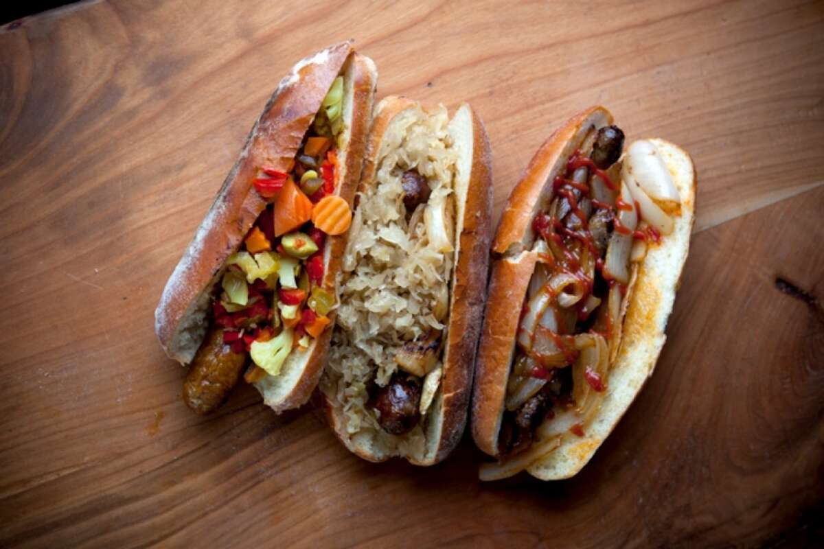 Rosamunde Sausage Grill dishes up beer sausages, chicken cherry sausages and vegan apple sage sausages. Its downtown Oakland location has closed.