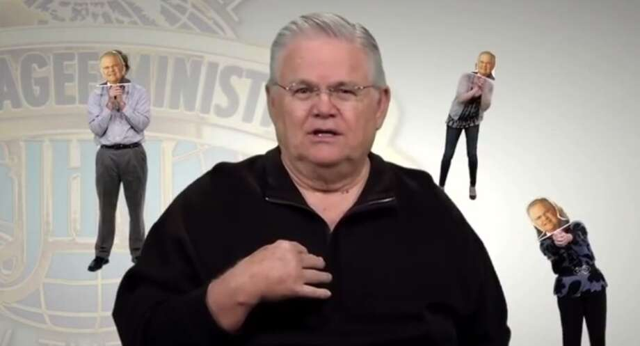 Screengrab from Hagee's YouTube video warning of social media imposters Photo: YouTube