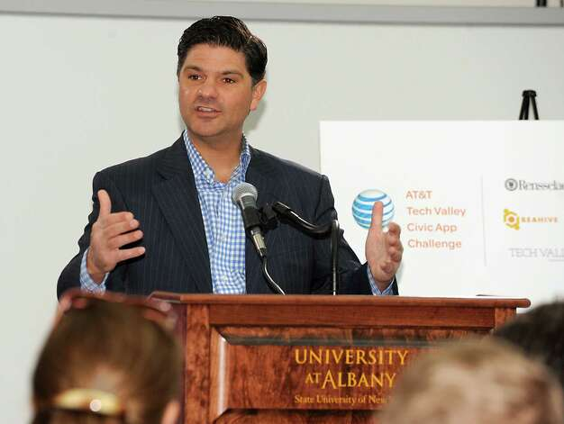 """New York State Senator George Amedore speaks before AT&T announces winners of its $18,000 """"app challenge"""" for local developers at the University at Albany on Thursday, May 14, 2015 in Albany, N.Y. (Lori Van Buren / Times Union) Photo: Lori Van Buren / 10031848A"""