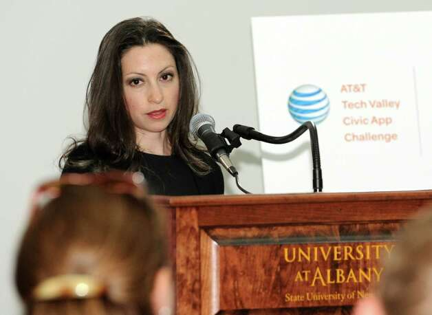 """Marissa Shorenstein, New York president , AT&T, speaks before AT&T announces winners of its $18,000 """"app challenge"""" for local developers at the University at Albany on Thursday, May 14, 2015 in Albany, N.Y. (Lori Van Buren / Times Union) Photo: Lori Van Buren / 10031848A"""