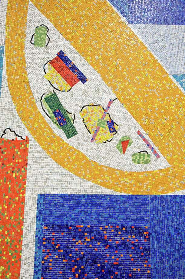 """This is a detail of the large mosaic mural that is at 711 Third Avenue in New York City. It was created by Hans Hofmann in 1956 and stiil stands. It is part of a number of mural and mural-inspired works on display at """"Walls of Color: The Murals of Hans Hofmann."""" Works by Hans Hofmann used with permission of the Renate, Hans and Maria Hofmann Trust Photo: Contributed Photo / Stamford Advocate Contributed photo"""
