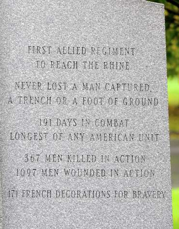 Close up of one of the script panels on The Battle of Henry Johnson statue in Washington Park Thursday, Oct. 4, 2012 in Albany, N.Y.  (Lori Van Buren / Times Union) Photo: Lori Van Buren / 00019541A