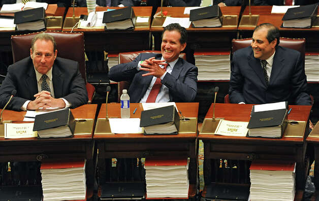 Senators Joseph Robach, left, John Flanagan, center, and Andrew Lanza are seen before a vote on a new Senate Majority Leader in the Senate Chamber at the Capitol on Monday, May 11, 2015 in Albany, N.Y.  (Lori Van Buren / Times Union) Photo: Lori Van Buren, Albany Times Union