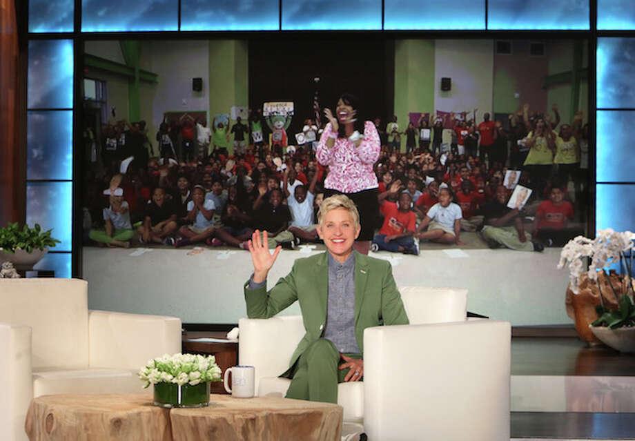 Carlotta Brown, principal at Peck Elementary School on Houston's southeast side, is honored by TV talk-show host Ellen DeGeneres, May 14, 2015. (Image via EllenTube)