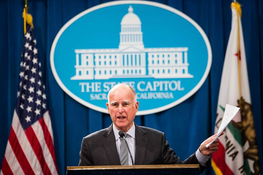 California Gov. Jerry Brown takes questions from reporters after announcing his revised state budget at the State Capitol in Sacramento, California, May 14, 2015. Brown's budget revise includes increased funding for schools, the rainy day fund, and creates a new state earned income credit. Photo: Max Whittaker/Prime, Special To The Chronicle