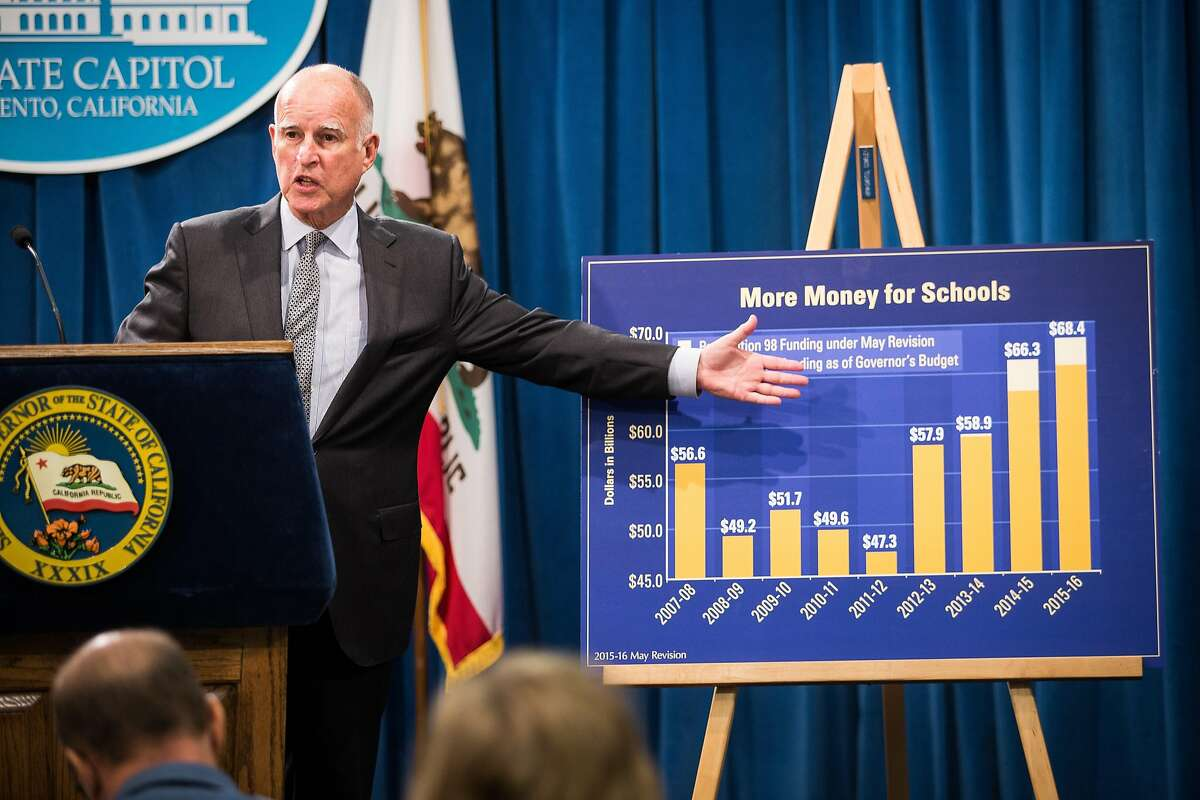 California Gov. Jerry Brown points to a graph as he announces his revised state budget at the State Capitol in Sacramento, California, May 14, 2015. Brown's budget revise includes increased funding for schools, the rainy day fund, and creates a new state earned income credit.