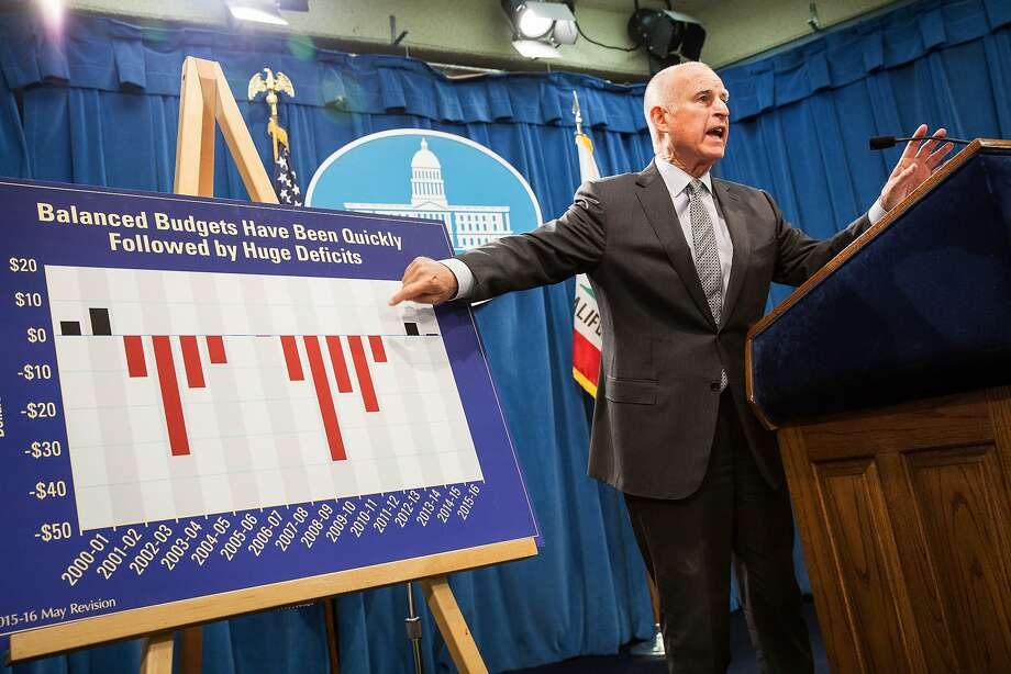 California Gov. Jerry Brown points to a graph as he announces his revised state budget at the State Capitol in Sacramento, California, May 14, 2015. Brown's budget revise includes increased funding for schools, the rainy day fund, and creates a new state earned income credit. Photo: Max Whittaker/Prime, Special To The Chronicle