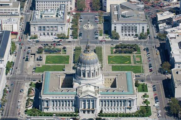 Aerial view City Hall, Civic Center Plaza, San Francisco. Made Tuesday Sept. 5, 2006. CREDIT: Judith Calson/Special to The Chronicle Ran on: 02-13-2007  Ran on: 02-13-2007  Ran on: 02-13-2007  ALSO Ran on: 04-17-2007 San Francisco chapter  of the American Institute  of Architects' favorite buildings, clockwise from top left: Palace of Fine Arts, Russell House, Transamerica Pyramid, Hallidie Building, Conservatory of Flowers, Grace Cathedral, Palace Hotel.
