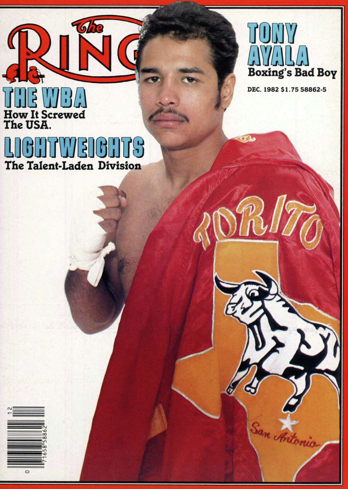 Tony Ayala Jr. on the cover of Ring magazine in the December 1982 issue.