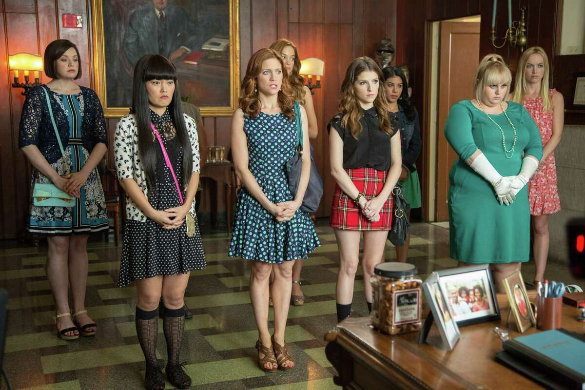"""This photo released by Universal Pictures shows, from left, Shelley Regner as Ashley, Hana Mae Lee as Lilly, Brittany Snow as Chloe, Alexis Knapp as Stacie, Anna Kendrick as Beca, Chrissie Fit as Flo, Rebel Wilson as Fat Amy, and Kelley Alice Jakle as Jessica, in a scene from the film, """"Pitch Perfect 2."""" (Richard Cartwright/Universal Pictures via AP) ORG XMIT: CAET527"""