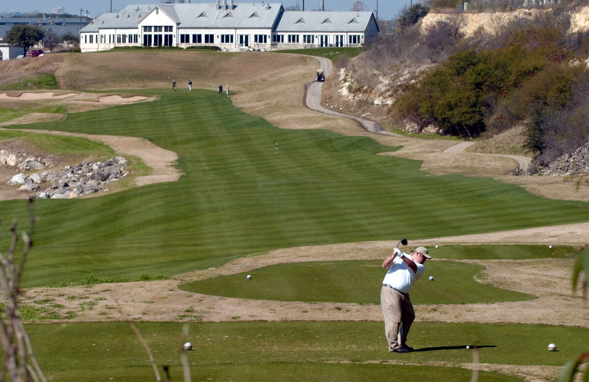 Looking at the 18th hole at The Quarry in 2004.