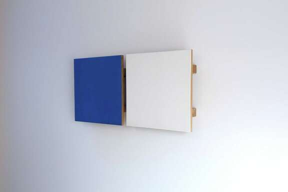 """""""Untitled Diptych #6 (Blue/White),"""" 1994 egg tempera and pigment on gessoed, cradled oak panels by John Meyer."""