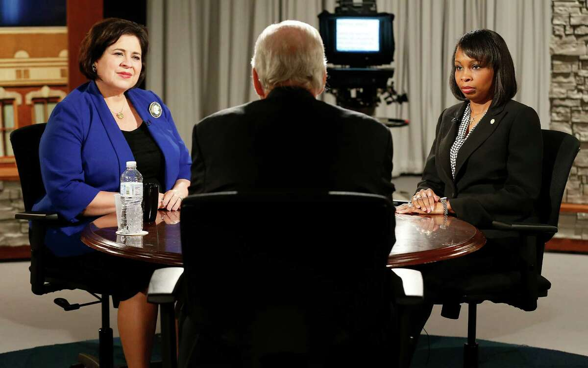 With host Rick Casey in the foreground, mayoral candidate Leticia Van De Putte (left) joins interim Mayor Ivy Taylor (right) in the first of five mayoral forums at KLRN studios. Van De Putte took exception to a question posed by Taylor, but a reader says she has to answer for past decisions.