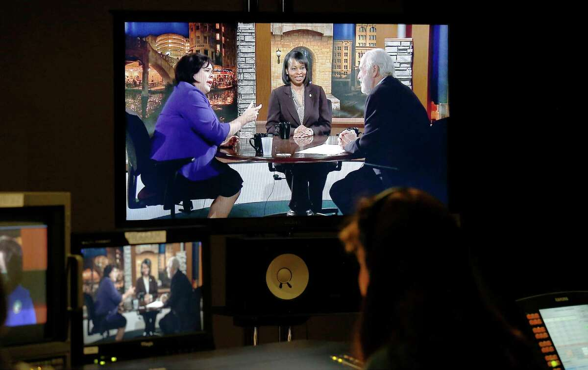 """Mayoral candidate Leticia Van De Putte (left) is seen on a studio screen with interim Mayor Ivy Taylor in the first of five mayoral forums at KLRN studios on Thursday, May 14, 2015. Taylor mocked Van de Putte for her role in a 2003 quorum-busting exile in New Mexico, saying, """"leaving the state when you don't get your way doesn't really demonstrate leadership."""""""