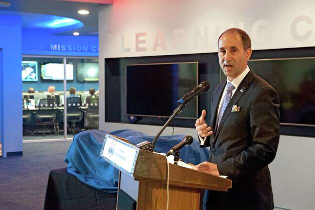Dr. Lance Bush, president and CEO, Challenger Center, speaks during the opening of the new Challenger Learning Center at the Museum of Innovation and Science on Thursday May 14, 2015 in Schenectady, N.Y.  (Lori Van Buren / Times Union) Photo: Lori Van Buren / 00031850A