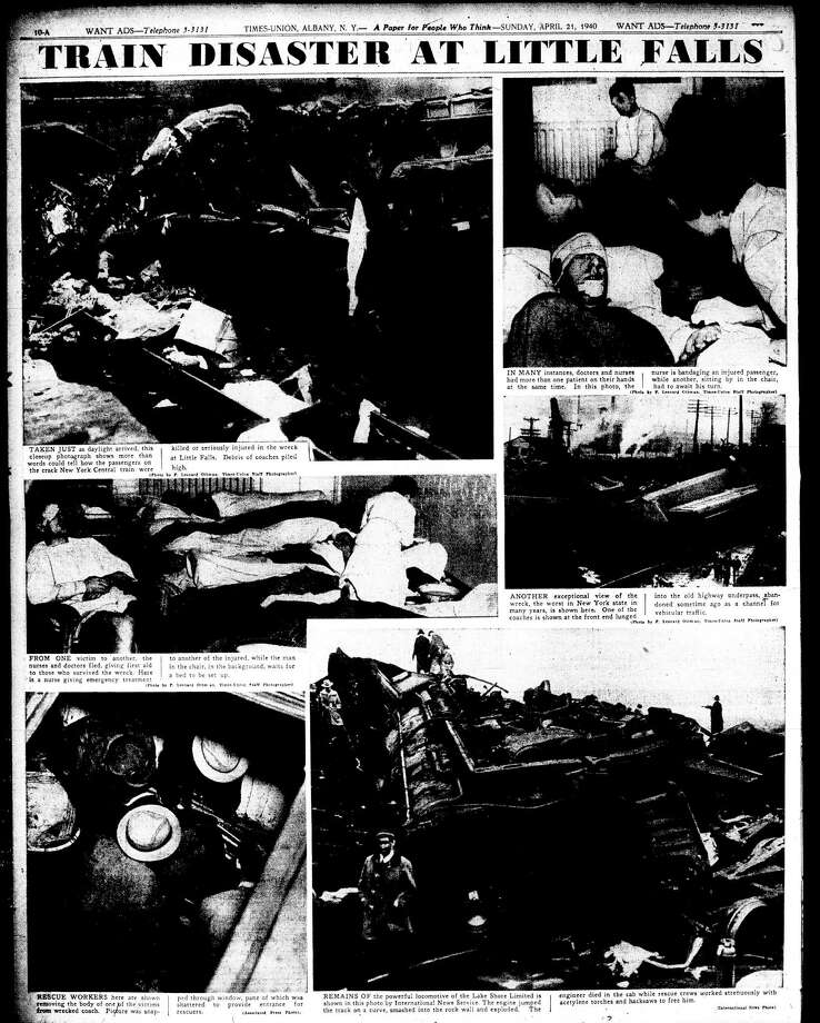 Inside page of the Times Union from April 21, 1940, showing the fatal train crash in Little Falls, N.Y., where an westbound New York Central Lake Shore Limited derailed and crossed two tracks killing 30, including the engineer, and injuring 100 on April 19, 1940. (Times Union)