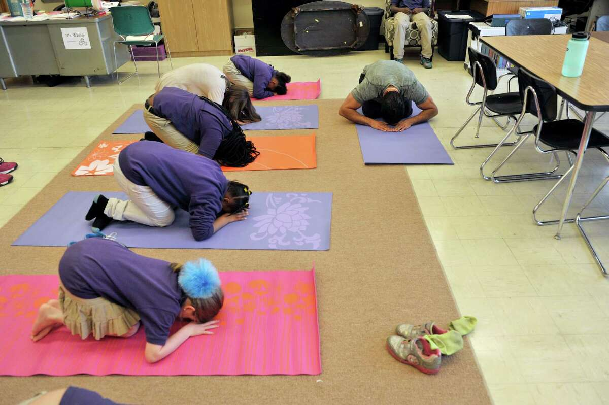Instructor Shawn Huber, right, with Freestyle Fitness and Yoga, teaches students moves in Budokon during a Project Based Learning program at Troy School 2 on Wednesday, May 13, 2015, in Troy, N.Y. The program is a 6-week program that meets on Wednesday afternoons for Grades three through five. (Paul Buckowski / Times Union)