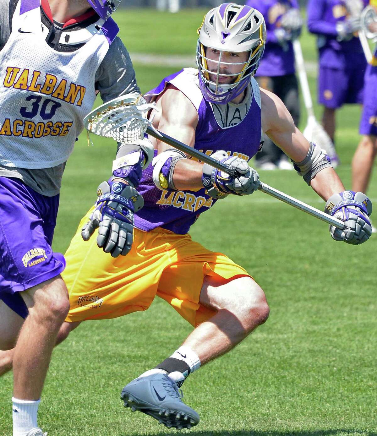 UAlbany lacrosse senior defenseman Mike Russell (No. 31) of Burnt Hills during practice Thursday May 14, 2015 in Albany, NY. (John Carl D'Annibale / Times Union)