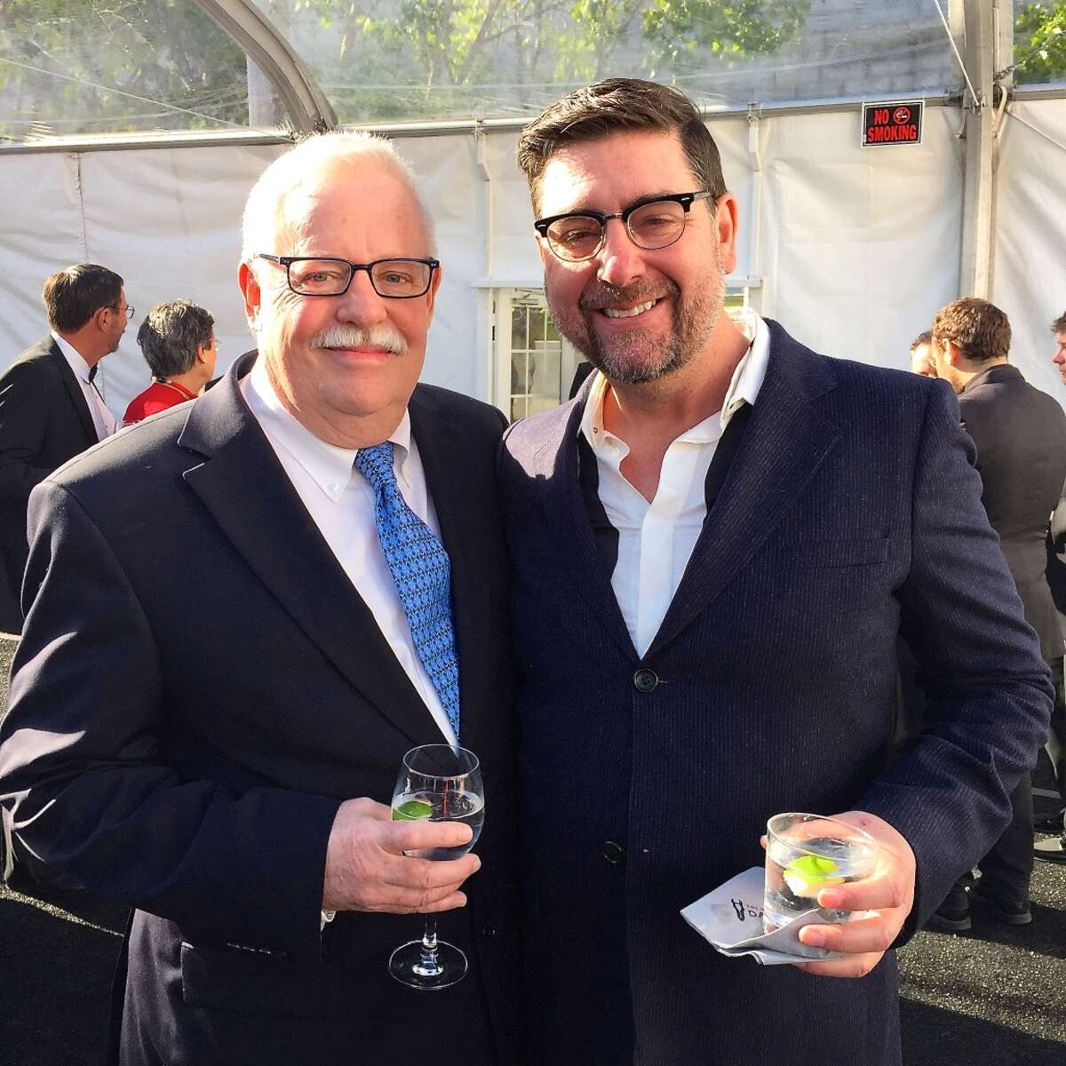 Author-playwright Armistead Maupin (left) with ACT Associate Artistic Director Mark Rucker at the Get Stranded Gala.