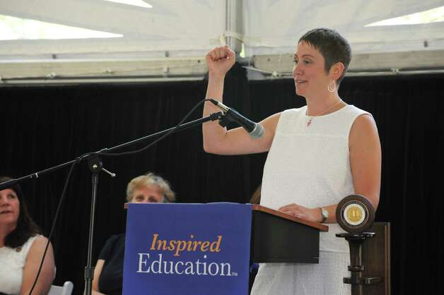 Graduating nurse Laura Chamberlin delivers one of the student reflections at the annual white tea and nursing pinning ceremony at Maria College on Thursday May 14, 2015 in Albany, N.Y.  (Lori Van Buren / Times Union) Photo: Lori Van Buren / 10031843A