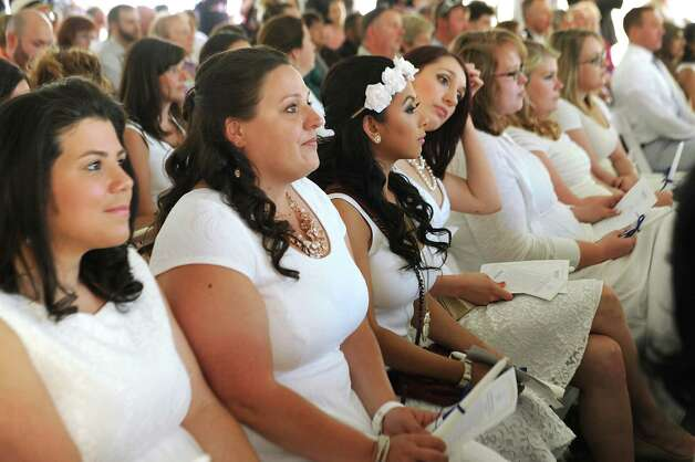 Graduating nurses attend the annual white tea and nursing pinning ceremony at Maria College on Thursday May 14, 2015 in Albany, N.Y.  (Lori Van Buren / Times Union) Photo: Lori Van Buren / 10031843A