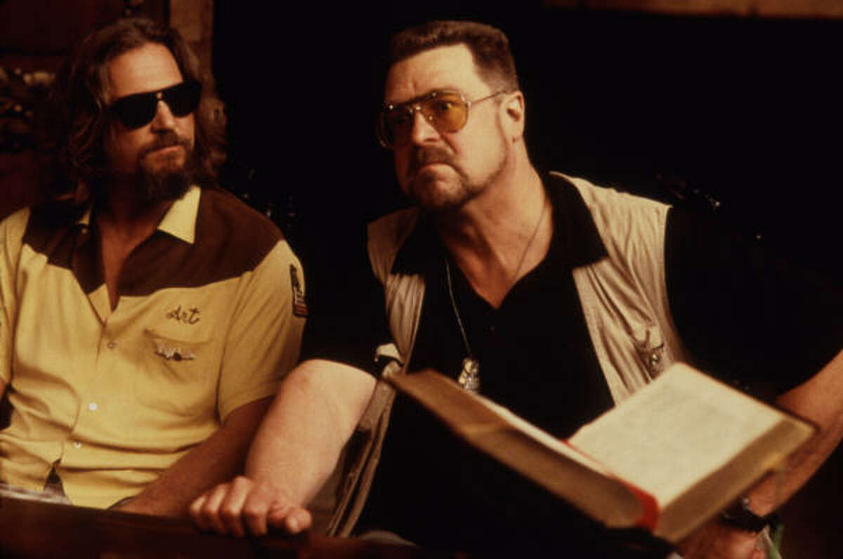 """Jeffrey """"The Dude"""" Lebowski (Jeff Bridges) and his best friend Walter Sobchak (John Goodman)attempt to make things right (and replace a rug) by finding The Big Lebowski."""