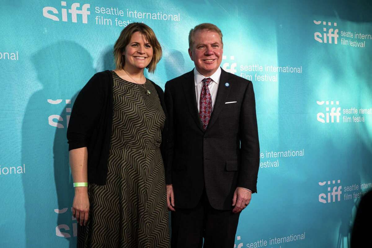 Megan Griffiths, the 2015 Mayor's Film Award recipient, poses with Mayor Ed Murray at the 41st Seattle International Film Festival at McCaw Hall on Thursday, May 14, 2015.