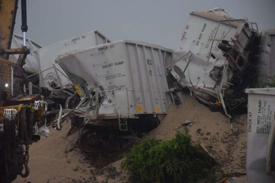 Union Pacific crews are working a train derailment in Pleasanton, just south of San Antonio on U.S. Hwy. 281. Photo: Mark D. Wilson/San Antonio Express-News