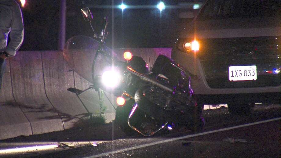 A motorcyclist died Thursday night after crashing into a stopped car on Interstate 35. Photo: 21 Pro Video