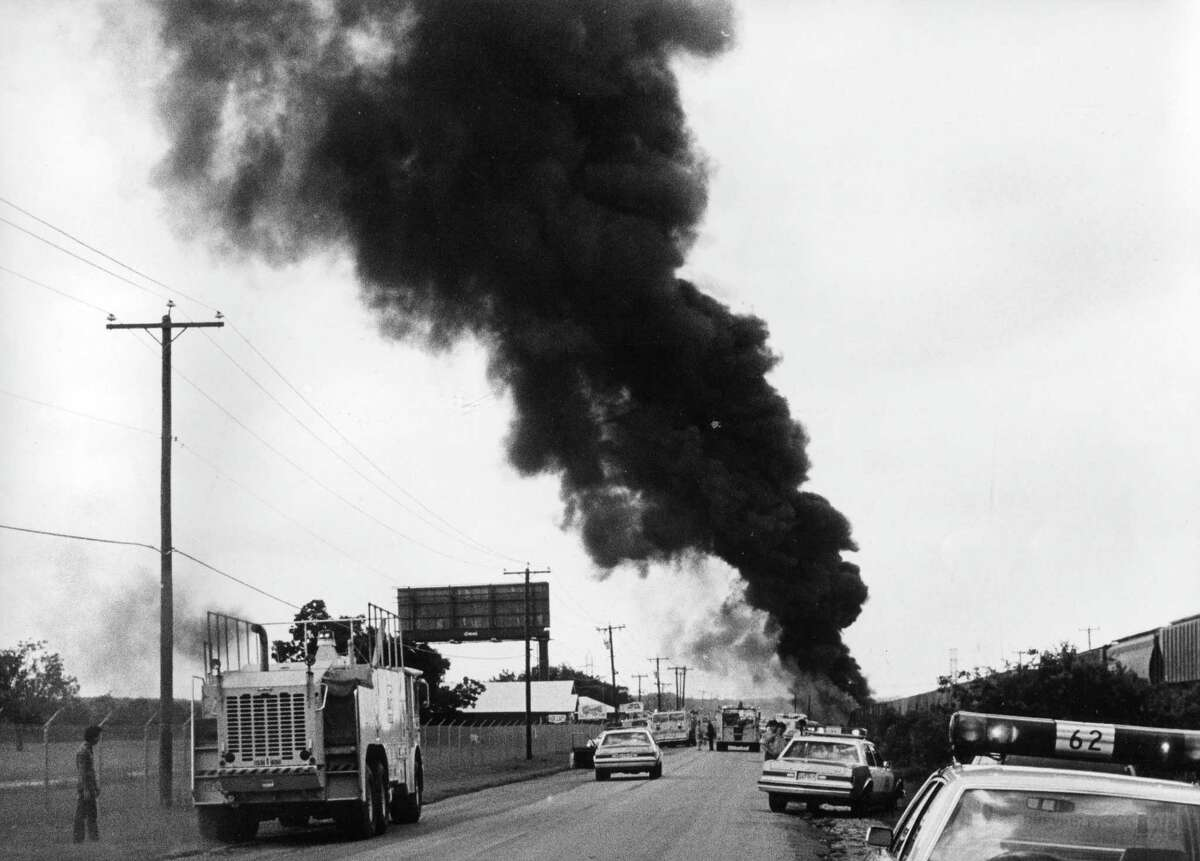 A north view on Wetmore Road of the 1986 train derailment and chemical spill.