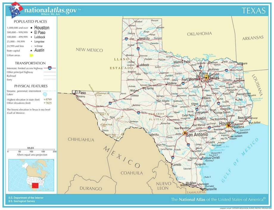 TexasNo. 1 among top 10 source states for firearms of U.S. origin seized in Mexico.Total firearms of Arizona-origin seized in Mexico, 2009-2014: 13,628Percent of total U.S.-origin arms traced to Arizona: 41.3 percentMap credit: United States Geological Survey Photo: USGS