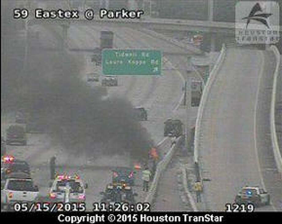 A vehicle fire on US-59 southbound near Tidwell north of downtown is causing traffic problems in the area. Photo: Houston TranStar