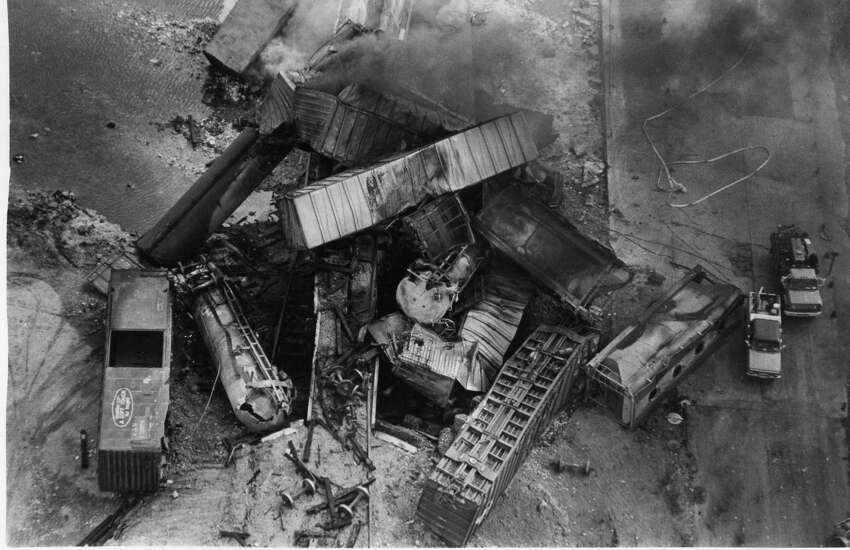 Seven tank cars exploded after a bridge collapsed just north of the San Antonio International airport on Sunday, June 8, 1986. The 80 car and four locomotive Union Pacific train derailment forced the evacuation of 2,000 people as the fire was left to burn itself out.