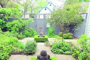 Hindu deities are prominent in this kitchen garden.