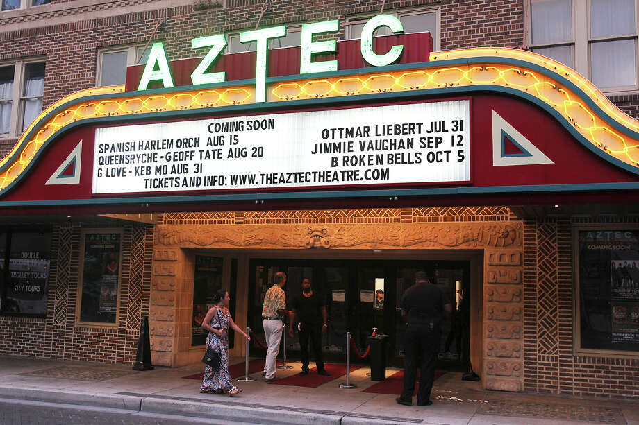 The marque of the historic Aztec Theatre is lit to tout a performance last summer. Photo: TOM REEL /San Antonio Express-News / San Antonio Express-News