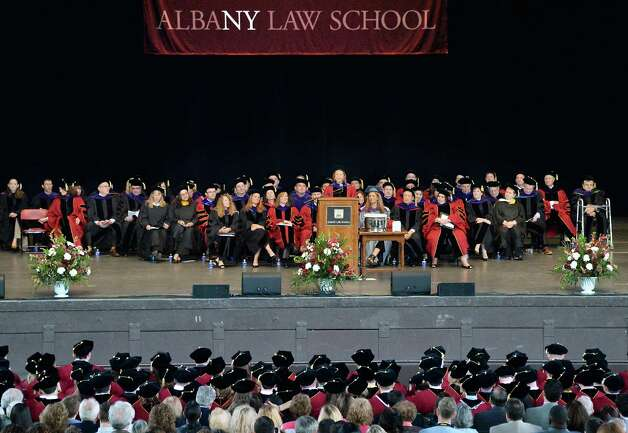 The Honorable Leslie Stein, center, associate judge of the New York Court of Appeals delivers the commencement address during Albany Law School Commencement Ceremonies at Saratoga Performing Arts Center Friday May 15, 2015 in Saratoga Springs, NY.  (John Carl D'Annibale / Times Union) Photo: John Carl D'Annibale, Albany Times Union / 00031496A