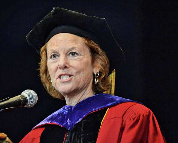 Associate judge of the New York Court of Appeals Leslie Stein delivers the commencement address during Albany Law School Commencement Ceremonies at Saratoga Performing Arts Center Friday May 15, 2015 in Saratoga Springs, NY.  (John Carl D'Annibale / Times Union) Photo: John Carl D'Annibale, Albany Times Union / 00031496A