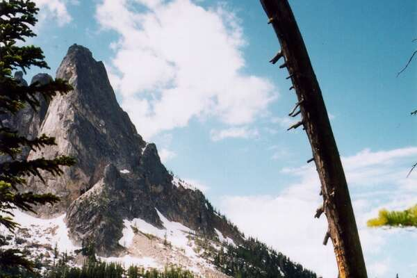 View from Washington Pass of Liberty Bell Mountain on the North Cascades Highway.