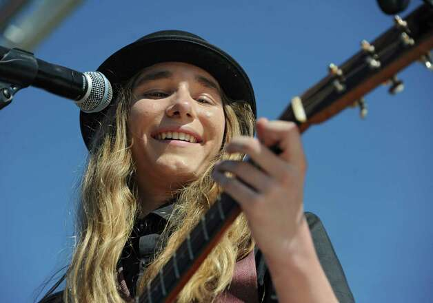 FultonvilleOs own Sawyer Fredericks performs at the Fonda Speedway in front of excited fans on Wednesday, May 6, 2015 in Fonda, N.Y. The 16-year-old singer/songwriter is one of the final six contestants on NBCOs show The Voice. (Lori Van Buren / Times Union) ORG XMIT: MER2015050619315750 Photo: Lori Van Buren / 00031668A