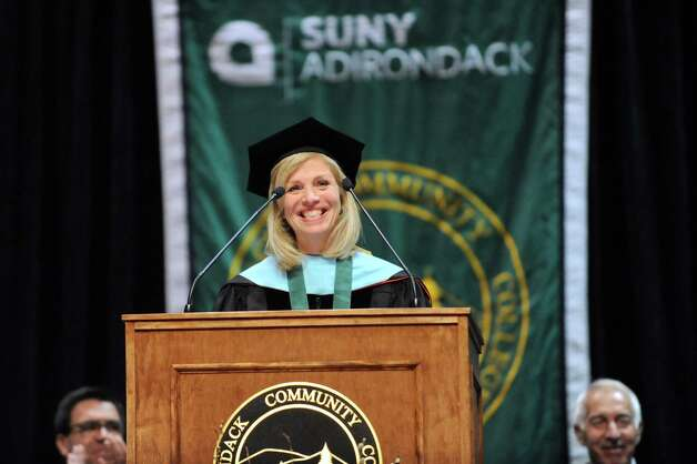 Kristine Duffy, president of SUNY Adirondack, speaks during commencement exercises on Thursday, May 14, 2015, at Glens Falls Civic Center in Glens Falls, N.Y. (Cindy Schultz / Times Union) Photo: Cindy Schultz, Albany Times Union / 00031515A
