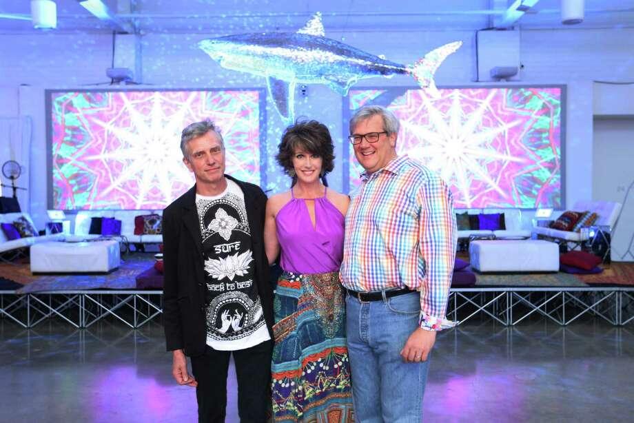 Joe Havel, left, director of the Glassell School, and chairs Melissa and Albert Grobmyer. Photo: Jon Shapley, Staff / © 2015 Houston Chronicle
