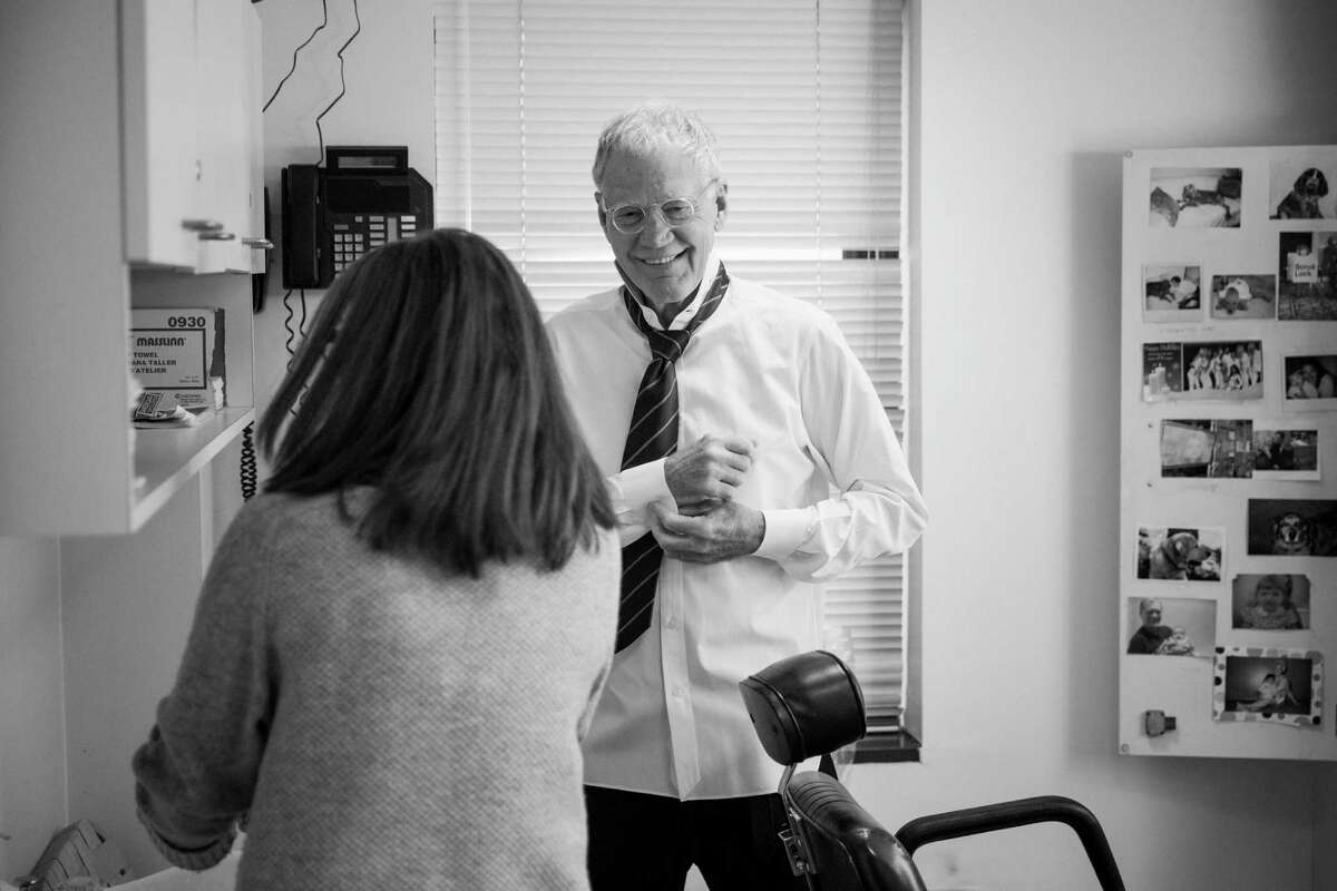 """David Letterman prepares before a taping of """"The Late Show,"""" at the Ed Sullivan Theater in New York, April 20, 2015. Letterman ends a 33-year run as a host on May 20."""