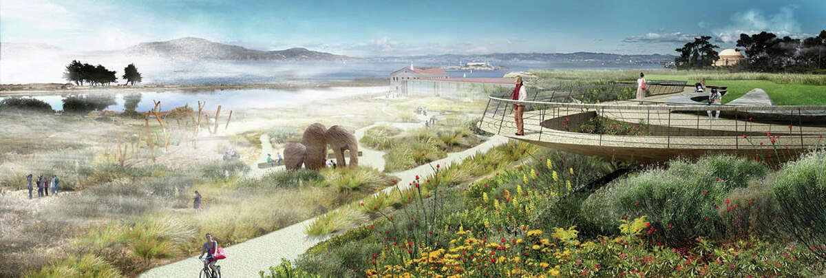 A rendering of the future West overlook with a cantilevered walkway, among the options that have surfaced in the emerging vision for 13 acres of parkland to be created above San Francisco?•s Crissy Field.