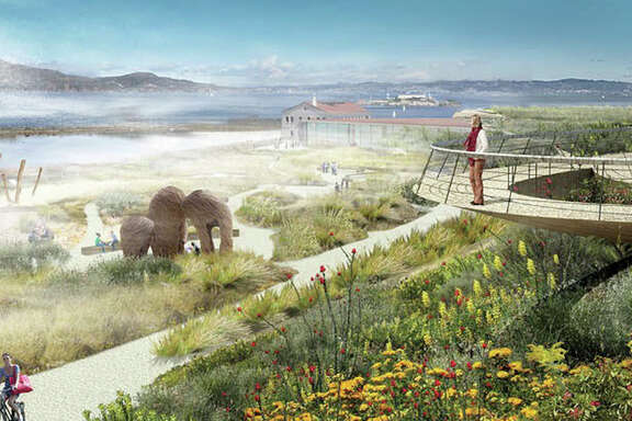 A rendering of the future West overlook with a cantilevered walkway, among the options that have surfaced in the emerging vision for 13 acres of parkland to be created above San FranciscoÕs Crissy Field.