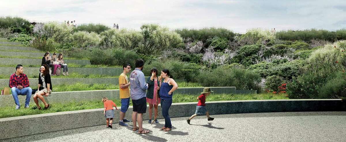 A design option for the Presidio parkland leading from Crissy Field to the Main Post: terraced landscaped seating leading up to walk along a new bluff.