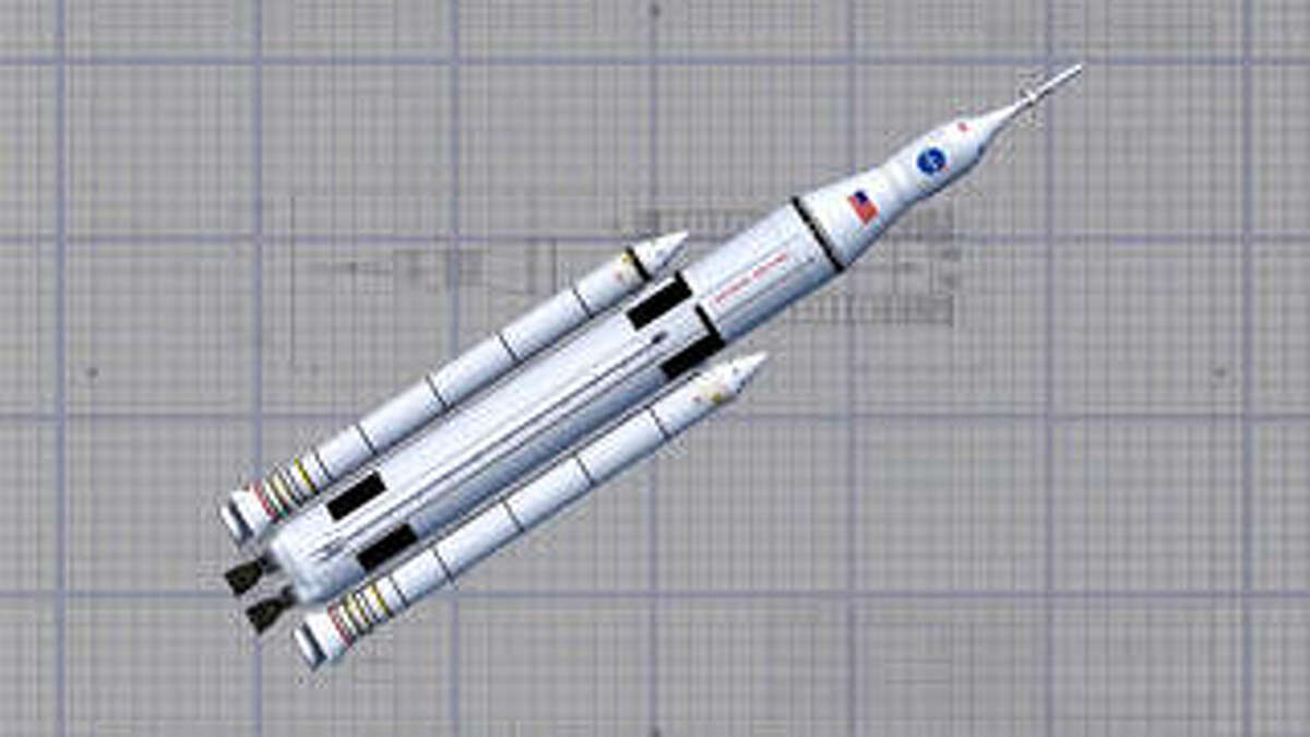 An artist's concept of NASA's Space Launch System wireframe design. The program kicked off its critical design review May 11 at NASA's Marshall Space Flight Center in Huntsville, Ala. Credits: NASA/MSFC