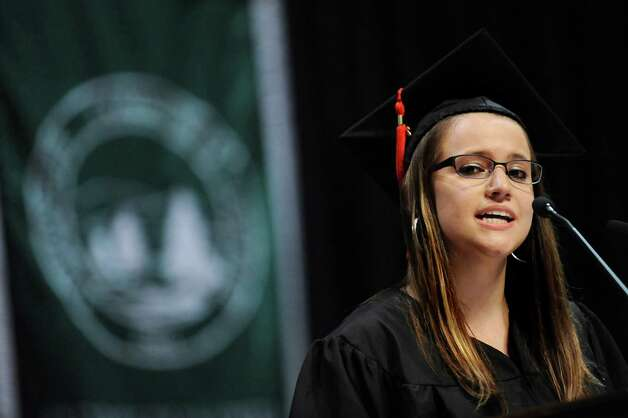 SUNY Plattsburgh graduate JoAnn Wood addresses fellow graduates during commencement exercises on Thursday, May 14, 2015, at Glens Falls Civic Center in Glens Falls, N.Y. (Cindy Schultz / Times Union) Photo: Cindy Schultz / 00031515A