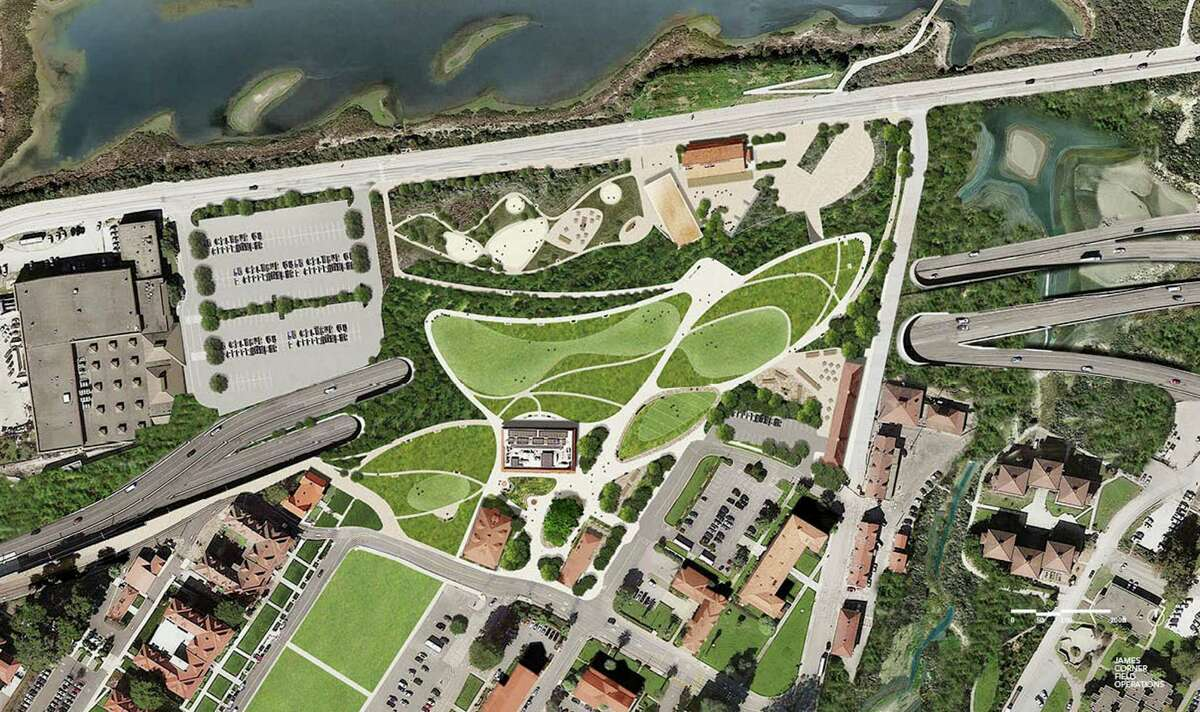 The proposed concept design for the New Presidio Parklands, which would drape 13 acres of landscaped open space across the former path of Doyle Drive. The design team for the concept is led by James Corner Field Operations, famed for its role in shaped New York's High Line.