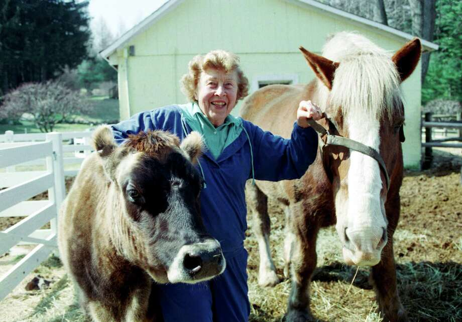 Actress Carmen Mathews, 83, is photographed on her West Redding, Conn. farm, March 16, 1995. Mathews turned her farm into a nature center and camp, forming the New Pond Farm Foundation. Photo: Carol Kaliff / The News-Times